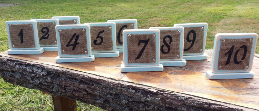Rustic Distressed Wood & Burlap Table Numbers in Any Color | Centerpiece For Wedding, Shower, Party Custom Handmade Vintage Reclaimed