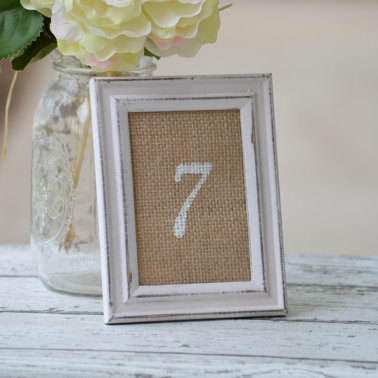 Rustic Table Numbers Wedding, Shabby Chic Distressed, Vintage Wedding Decor, Burlap Bridal Shower Garden Party