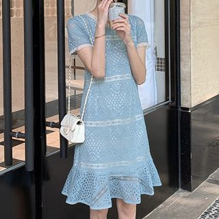 Short-Sleeve A-Line Lace Dress