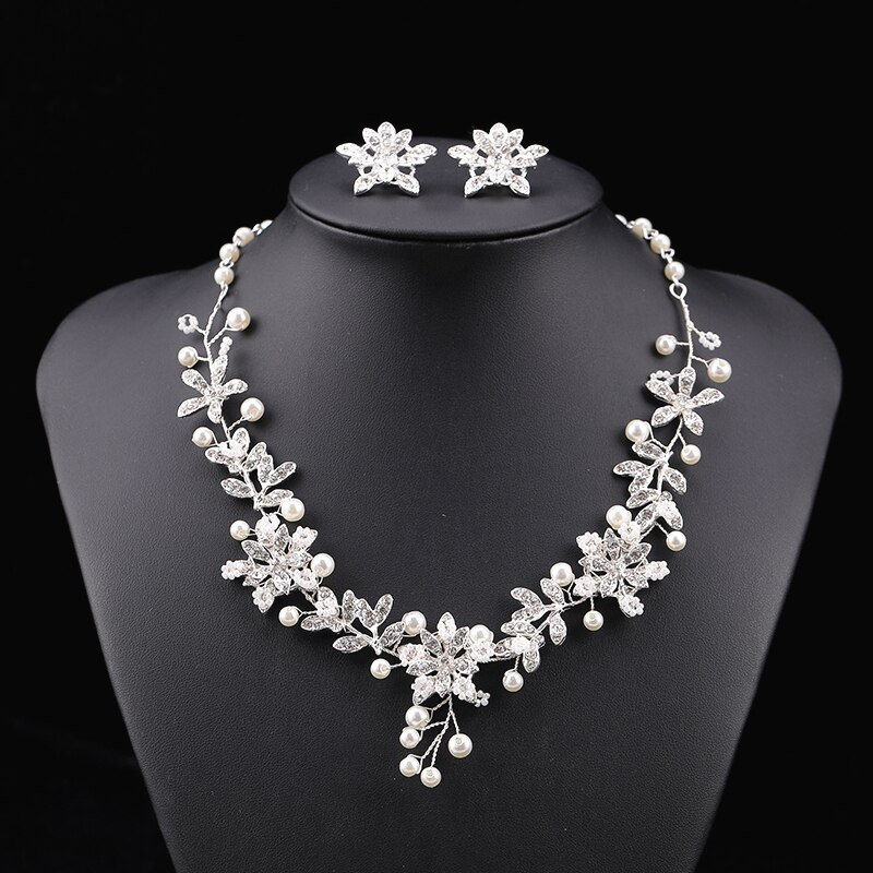 Bridal Jewelry Set Rhinestone Flower & Pearl Necklace With Matching Clip On Earrings Wedding Mother Of The Bride/Groom Gift Gradma