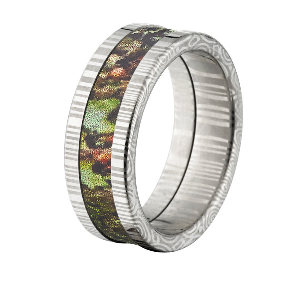 Damascus Steel 8mm Wide Camo Ring, Custom Made Mossy Oak Obsession Band Ds 8F Obsession
