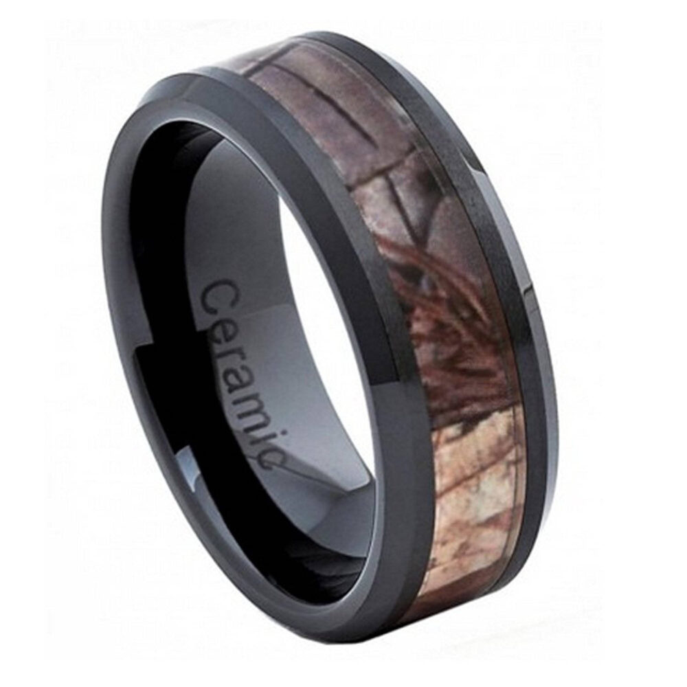 Custom Engraving - 8mm Black Ceramic Beveled Edge With Forest Hunter Camo Inlay Wedding Band Ring For Men