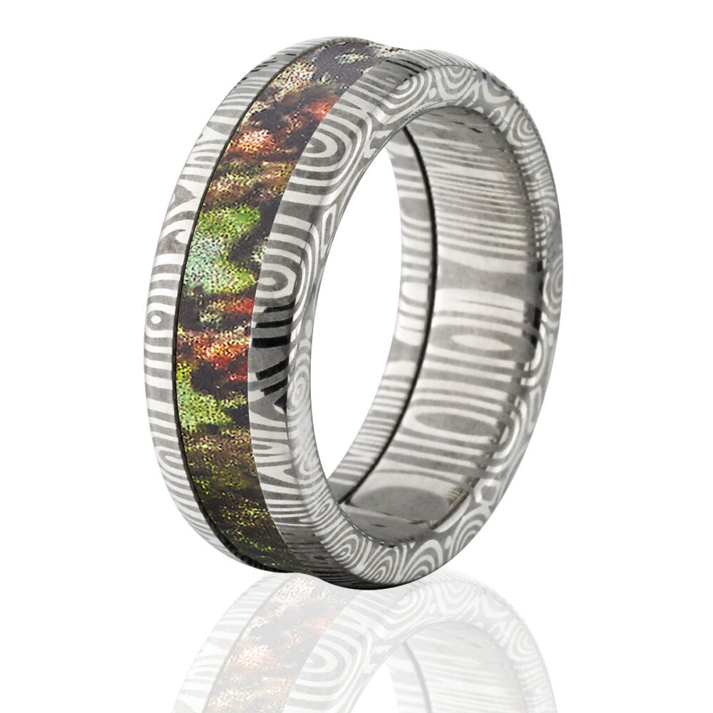 Damascus Steel Camo Ring, 8mm Custom Made Mossy Oak Obsession Band Ds 8Hr Obsession
