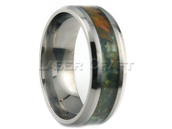 Personalized Engraved Titanium Wedding Band Bevel Camouflage 8mm | Free Laser Engraving