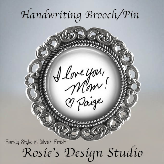 Handwriting Brooch Pin - Your Own Or Signature Actual Wedding Mother Of Bride Gift
