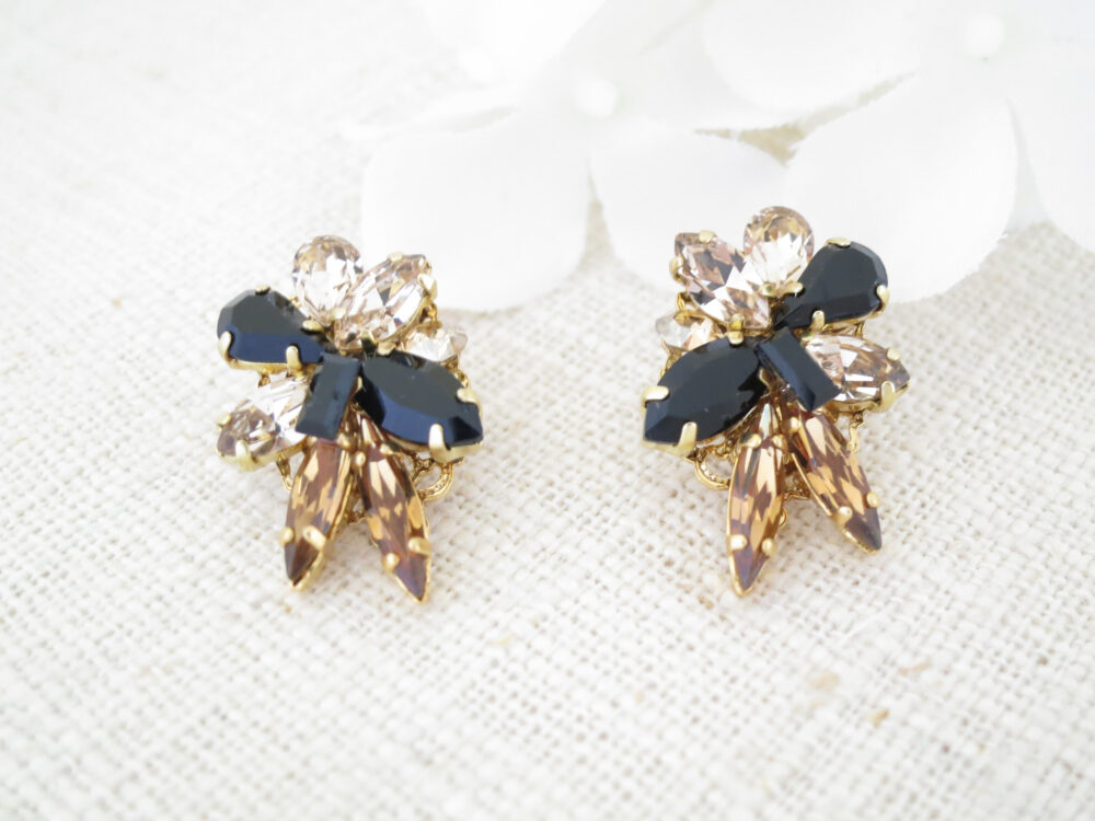 Crystal Cluster Earrings Black Gold Modern Topaz Rhinestone Jewelry Unique Swarovski Studs Wedding Mother Of Bride