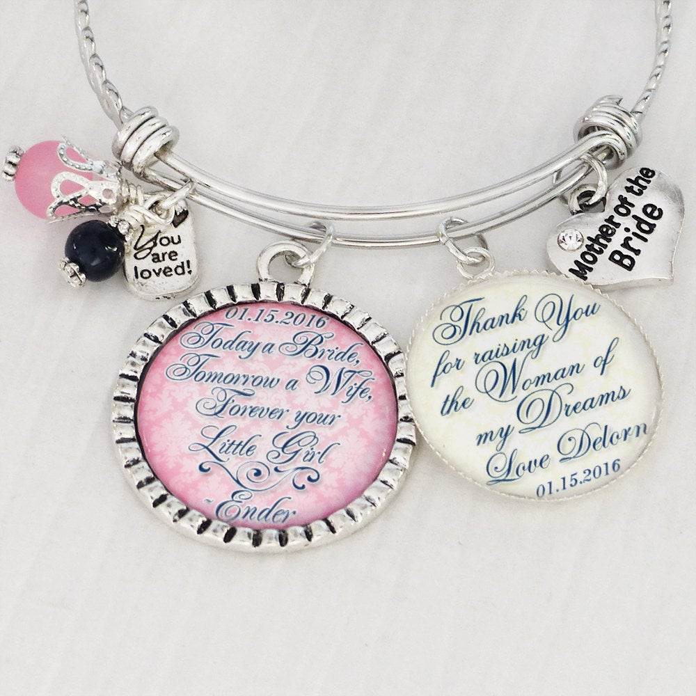 Wedding Gift For Mother Of Bride- The Bride Bangle Bracelet - From Bride-Gift Groom Jewelry-Wedding Gifts Parents