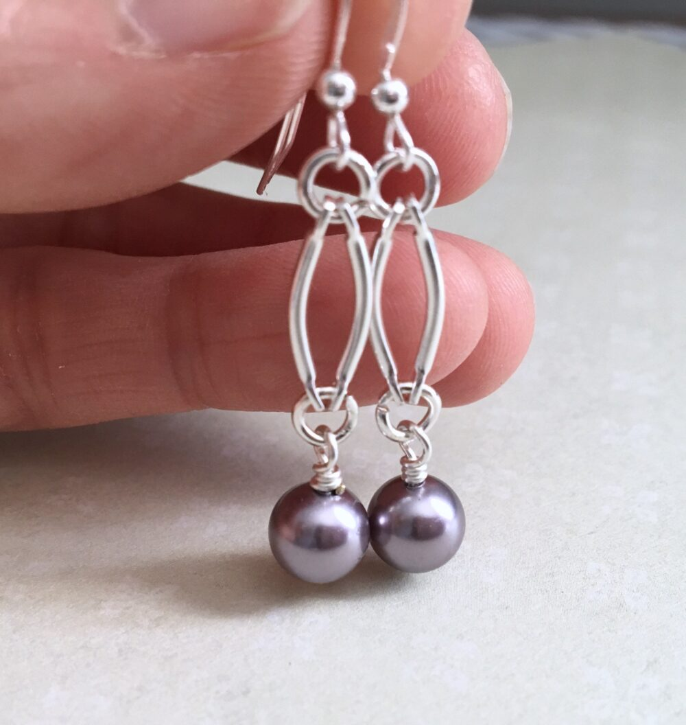 Amethyst Pearl Earrings, Wedding Mother Of Bride, Be My Bridesmaid, Anniversary Gift, Bridal Shower Maid Honor
