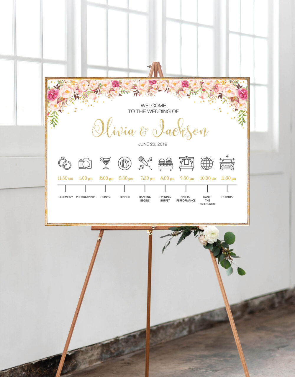 Wedding Timeline Template, Timeline Sign, Order Of Event, Itinerary Timeline, Schedule Events, Program Sign Ws62