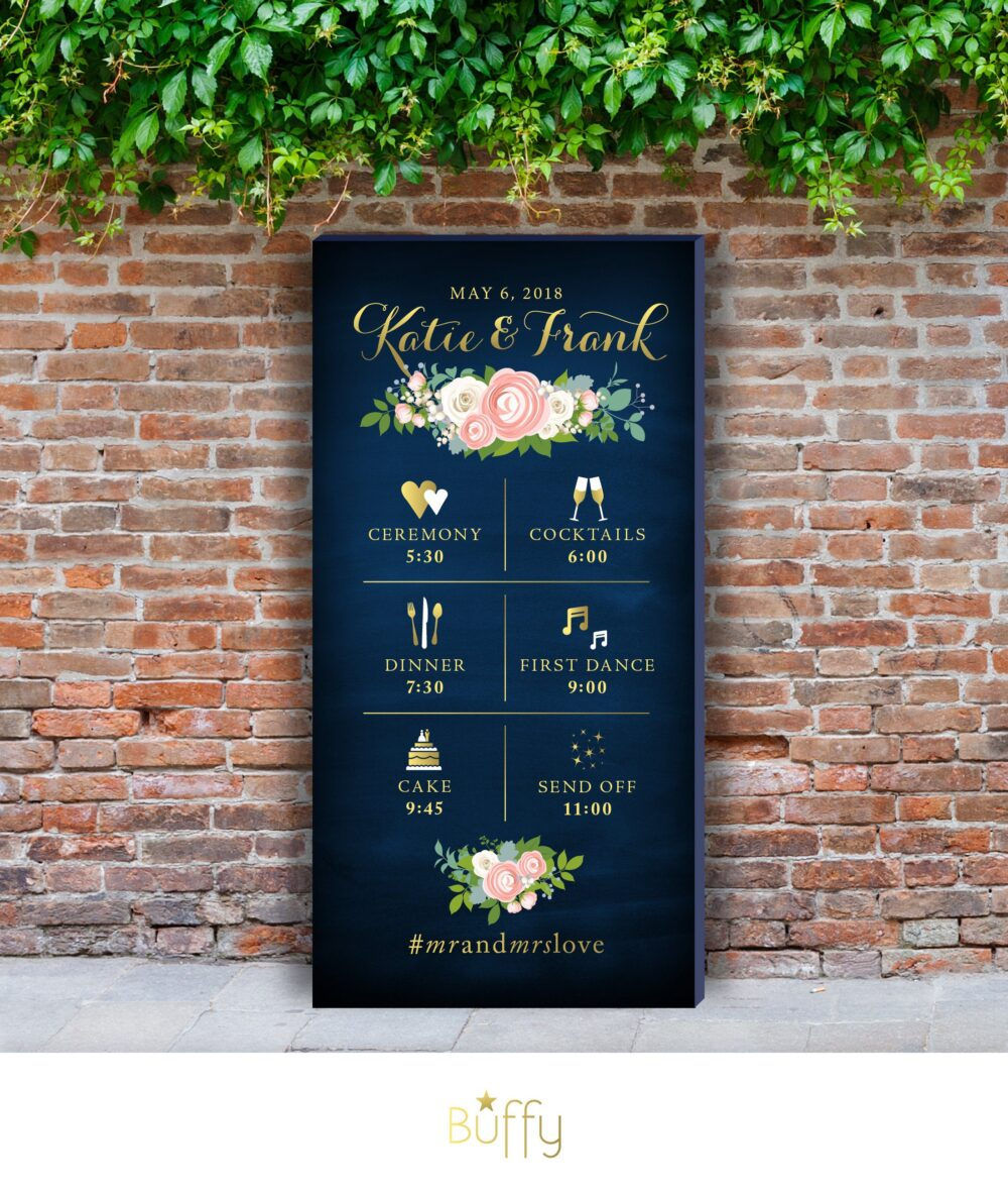 Timeline Icon Wedding Program Itinerary Event Sign Printed Canvas . Pink Peony Garland White Rose Blush Dusty Miller Gold & Navy Chalkboard