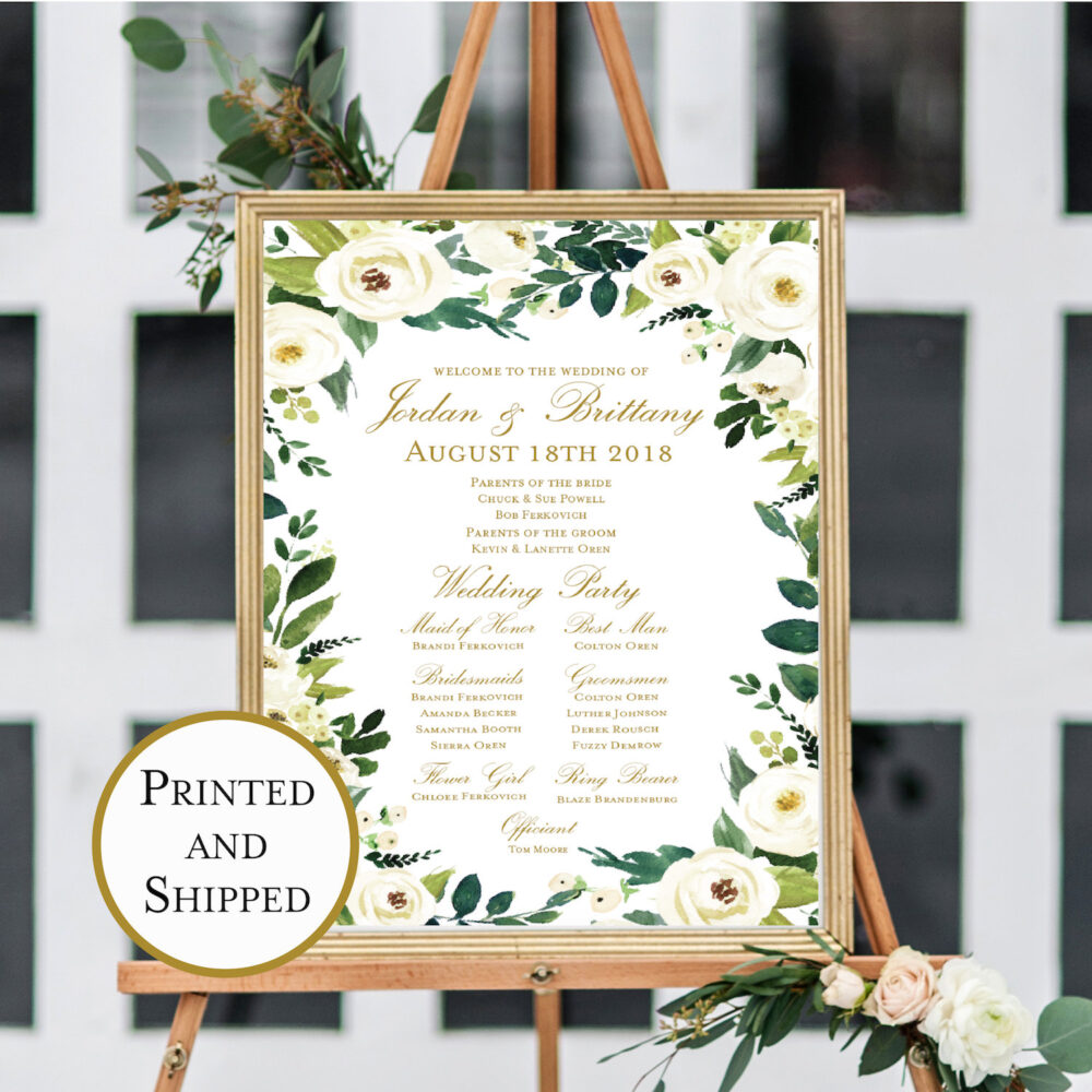 Printed Winter Wedding Welcome & Program Print, Calligraphy Sign, Poster, Multiple Sizes