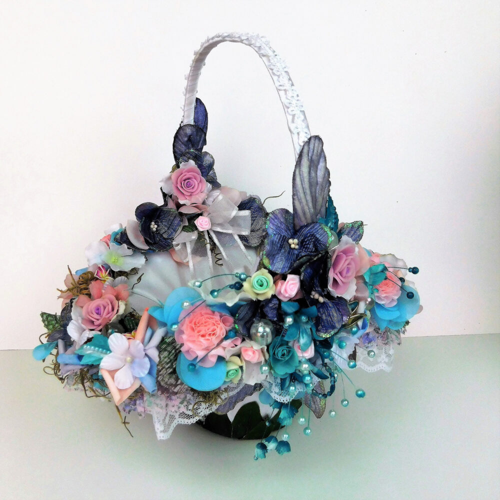 Boho Garden Wedding Flower Girl Basket Gift Proposal Girls Flowers Aqua Blue Lavender Pink Accessories