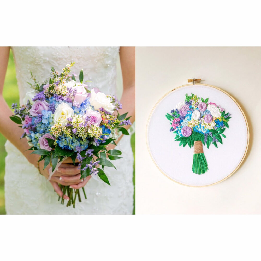 Cotton Anniversary Gift. Second Gift, Embroidered Wedding Bouquet. Bouquet Keepsake. Keepsakes Heirlooms