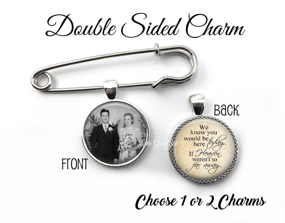 Personalized Groom Lapel Photo Pin - 1 Or 2 Double Sided Picture Charms Wedding Boutonniere Pendant Memorial in Memory