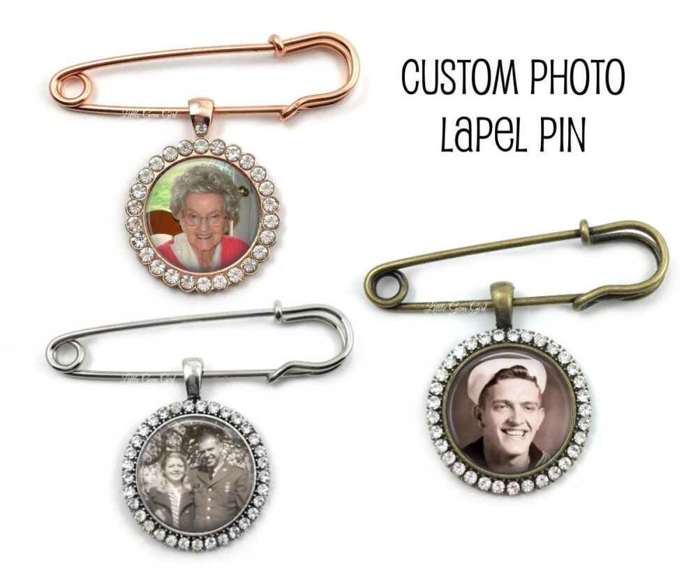 Personalized Groom Lapel Photo Pin - Silver, Bronze Or Rose Gold Rhinestone Wedding Boutonniere Pendant Memorial