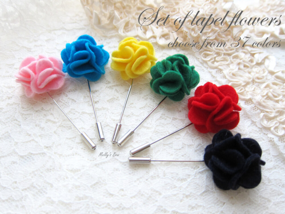 Set Of Carnation Wool Felt Wedding Boutonnieres - Men's Lapel Flower Groomsmen Gift