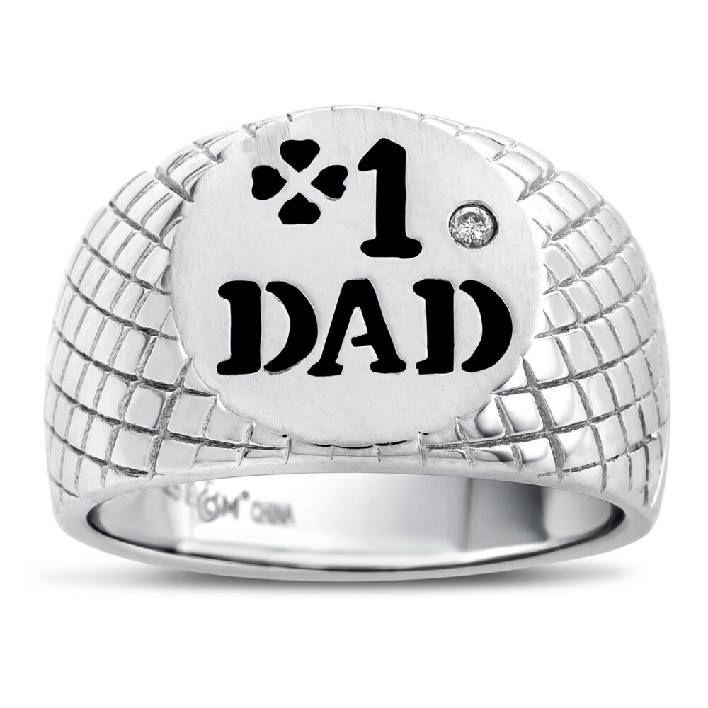 Number One Dad Ring, 925 Sterling Silver Signet 1 Gift For Father Diamond Ring Him