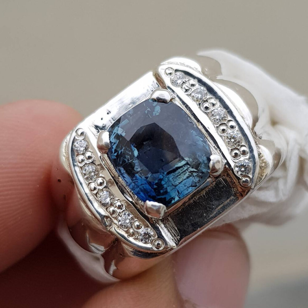 Bi-Colour Sapphire Ring Natural Big Ceylon Sri Lanka Bluish Green Blue Sapphire Mens 925 Sterling Silver