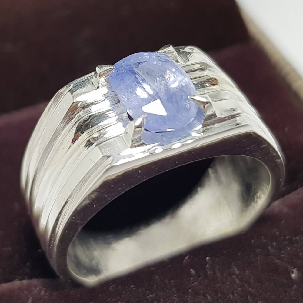 Sky Blue Mens Sapphire Ring - Ceylon Sri Lanka Stone Unheated Wedding Band Neelam Rings For Men