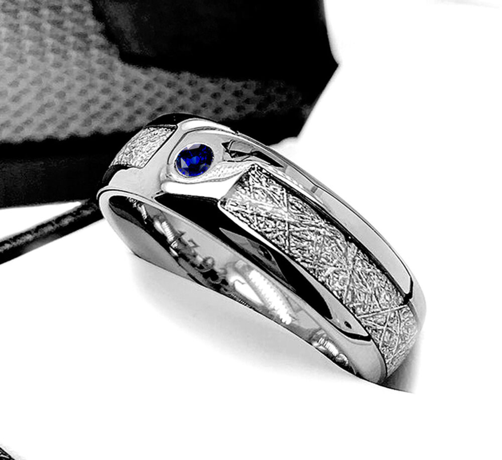 Meteorite Ring, Blue Sapphire Stone Wedding Ring For Mens, Women, Mens Sapphire Rings, Women His Her