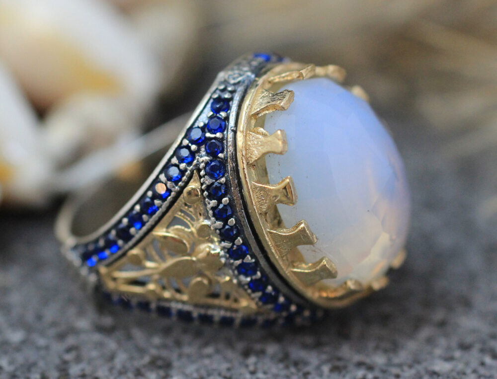 Sterling Silver 925 Handmade Ring, Ottoman Gift For Him, Moon Stone Mens Sapphire Ring