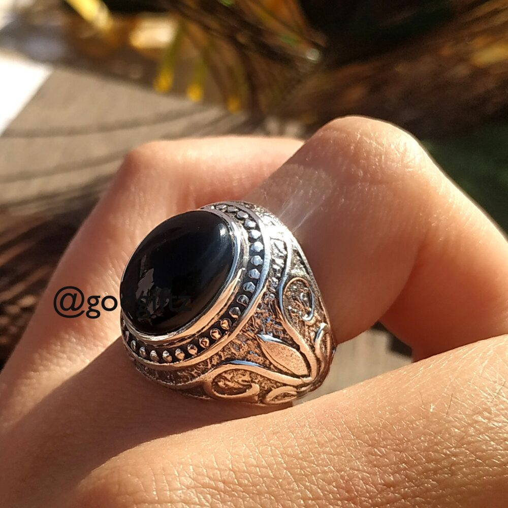 Black Onyx Ring Silver Cabochon Big Designer Aqeeq Mens Arabic Style Jewelry Turkish