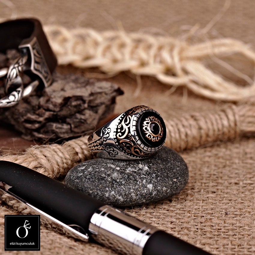 Mens Onyx Rings, Black Stone Silver Statement Ring, Celtic Vintage Signet Viking Warrior Manly Infinity Band | Can Be Gold Custom Made