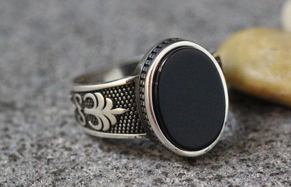 Mens Onyx Ring, Black Modern Men Signet Gift For Him, Ottoman Sterling Silver 925 Ring