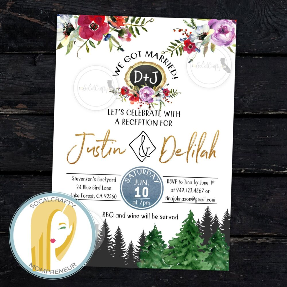 Forest Wedding Reception Invitation, Woods, Woodland, Announcement, Boho, Bohemian, Watercolor, Diy, Printed Or Printable Invites