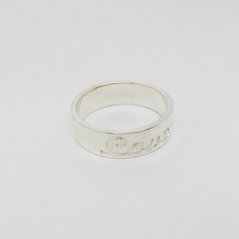 Silver Band Ring, Wedding Date Ring, 3 Initial Monogram Ring, Personalized Name Ring, Engraved Monogrammed Ring, Custom Jewelry