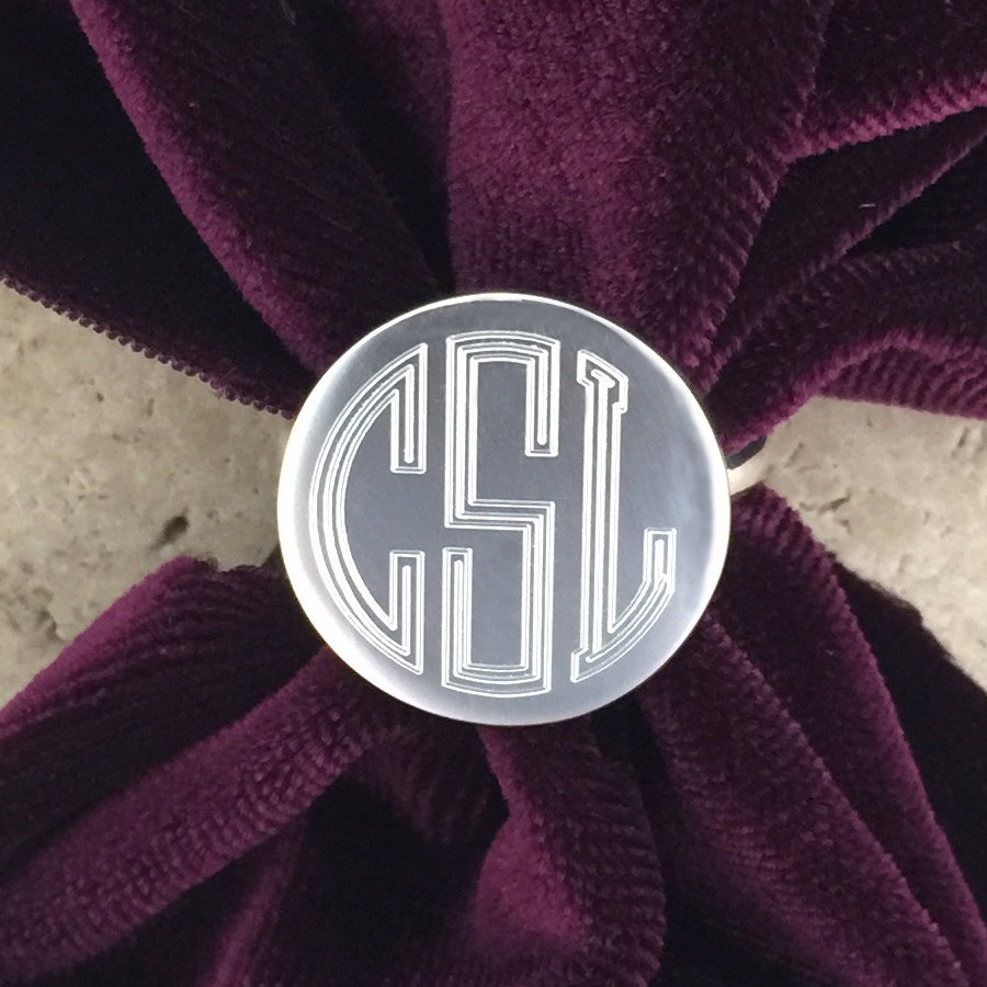 Personalized Round Sterling Silver Engraved Monogram Ring 08035C
