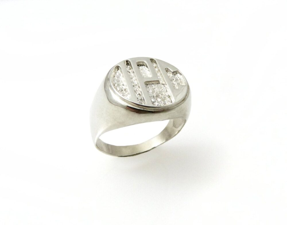 Men Monogram Ring. College Initials Silver Initial Band. Mens Engraved Silver Circle Ring