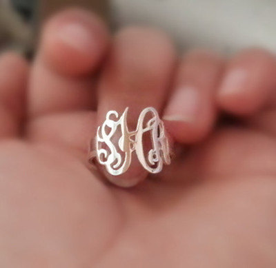 Custom Monogram Ring, Custom Name Ring, Made Of Sterling Silver-Personalized Gift For Everyone