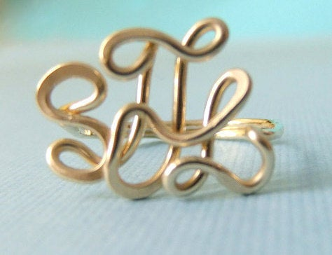 Monogram Ring, Gold Monogram Ring, 14K Filled Personalized Handcrafted Name Wired Wire Ring Initial