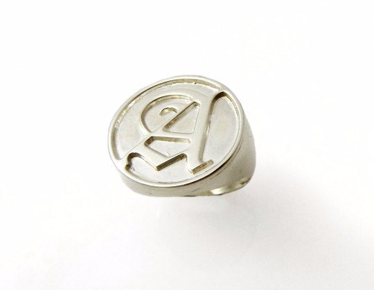 Massive Men Monogram Ring. College Initials Silver Old English Mens Initial Engraved Ring.goth