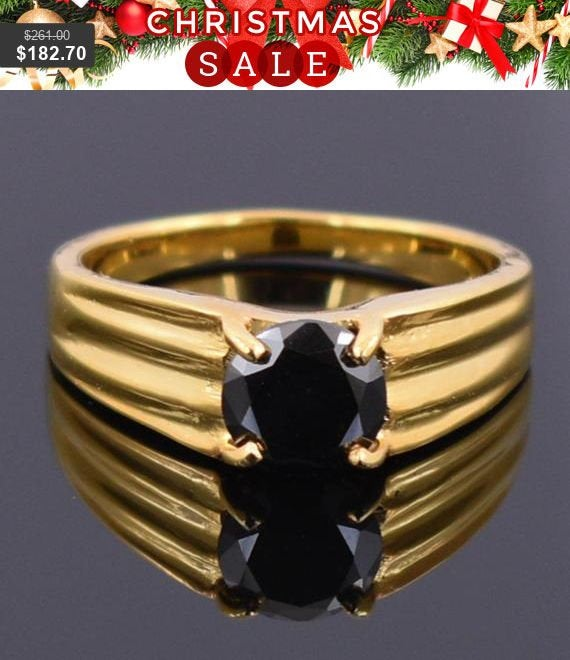 2Ct Black Diamond Solitaire Ring in Sterling Silver 18Kt Yellow Finish, Men's Ring, Band
