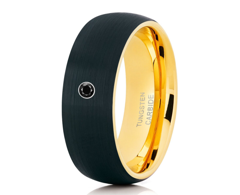 Black Diamond Tungsten Ring, 18K Yellow Gold, Carbide Anniversary Band, Men & Women, Brush Comfort Fi