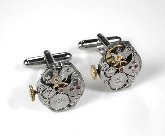 Mens Watch Cufflinks Ruby Jewel Movement Cuff Links Anniversary Wedding Groomsmen Dad - Steampunk Jewelry By Edmdesigns