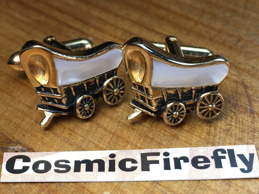 Men's Vintage Cufflinks Antique Gold Plated Covered Wagon Made in Usa Swank Brand Steampunk
