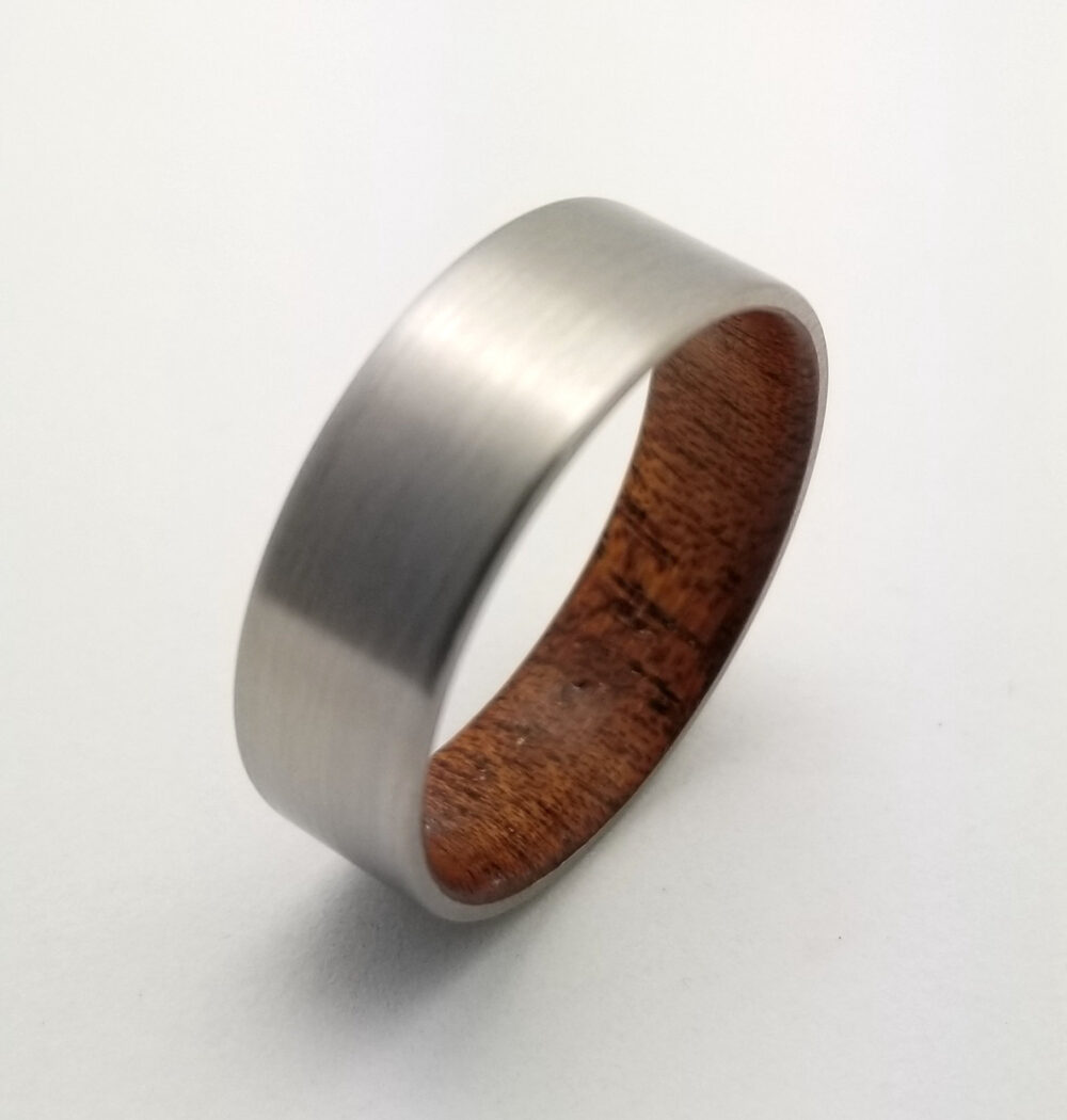 Mens Titanium & Wood Wedding Band, Mahogany Wood Lined Ring