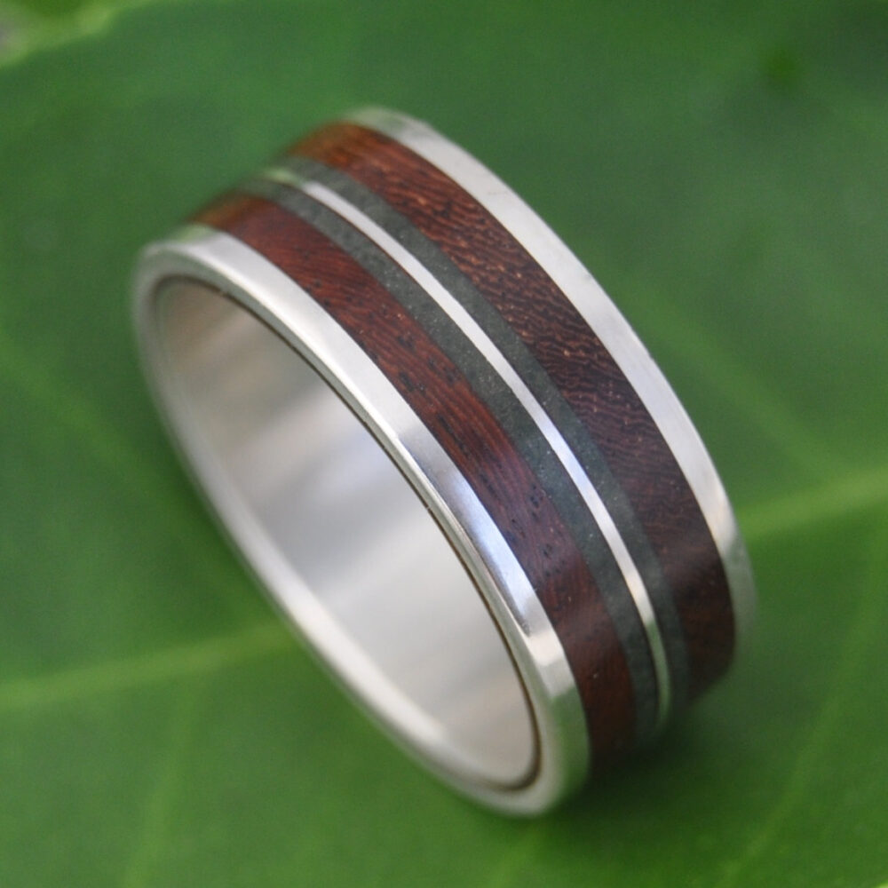 Jade Wood Ring Linea Verde Nacascolo - Eco-Friendly Recycled Sterling Silver & Wood Wedding Ring, Band, Stone Inlay Ring