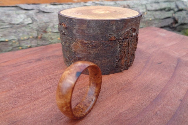 Personalized Band, Rhododendron Burl Ring, Mens Wood Wedding Wood Rings For Women, Men, Wooden 3 Day Shipping