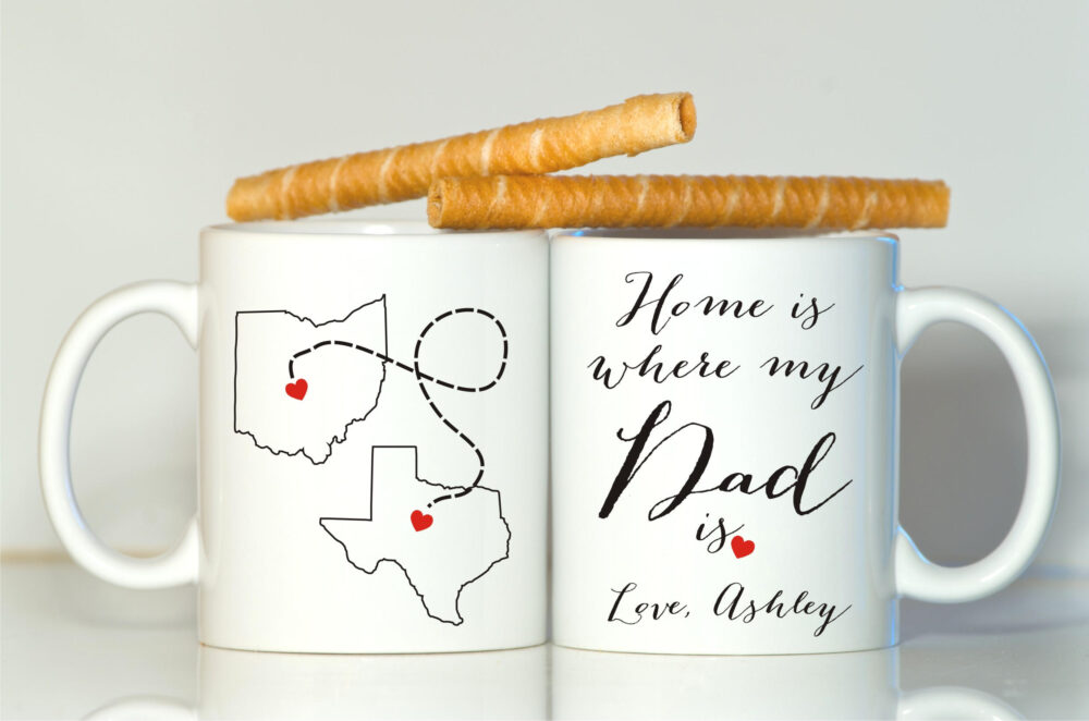 Home Is Where My Dad Mug, Long Distance Dad, Gift For Father Gift, Dad Father's Day Christmas Daddy