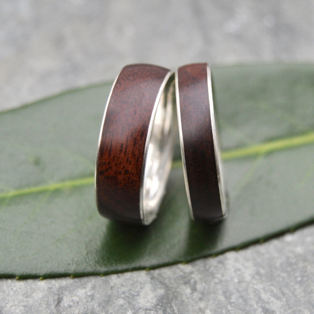 White Gold Walnut Wood Wedding Band, Comfort Fit Ring - Ecofriendly Wood Wedding Band With Recycled Gold, White Gold Ring