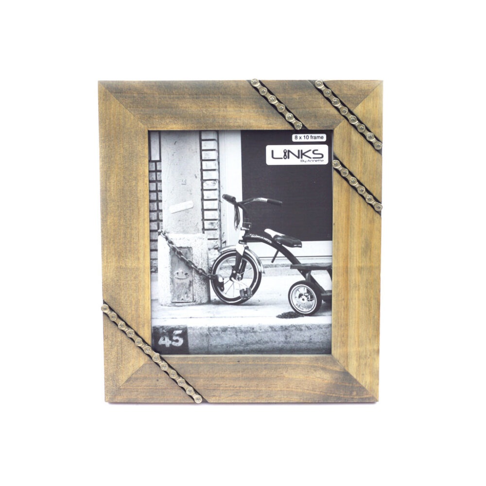 Bike Chain Picture Frame, 8x10, Cycling Photo, Gift, Dad Father's Day, Wedding Repurposed Parts, Housewarming