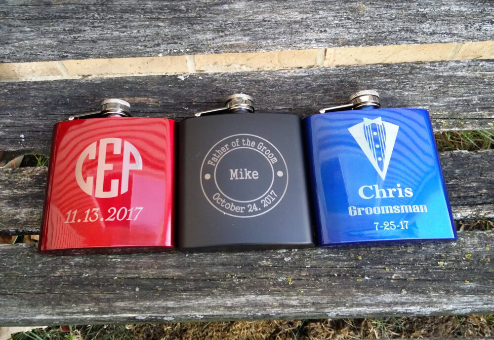 Personalized Flask. Groomsmen Gift, Dad, Father Of The Bride, Groom, Father's Day, Anniversary, Birthday, Red, Blue, Black. Wedding
