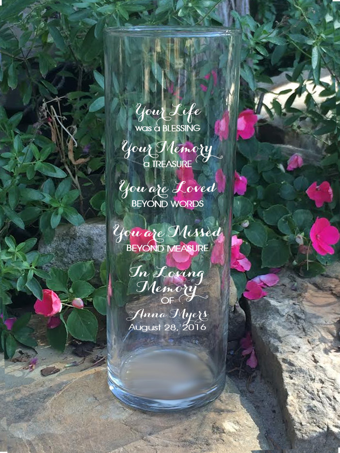 Memorial Vases - in Loving Memory Vase Floating Candle Engraved Cylinder Your Life Was A Blessing