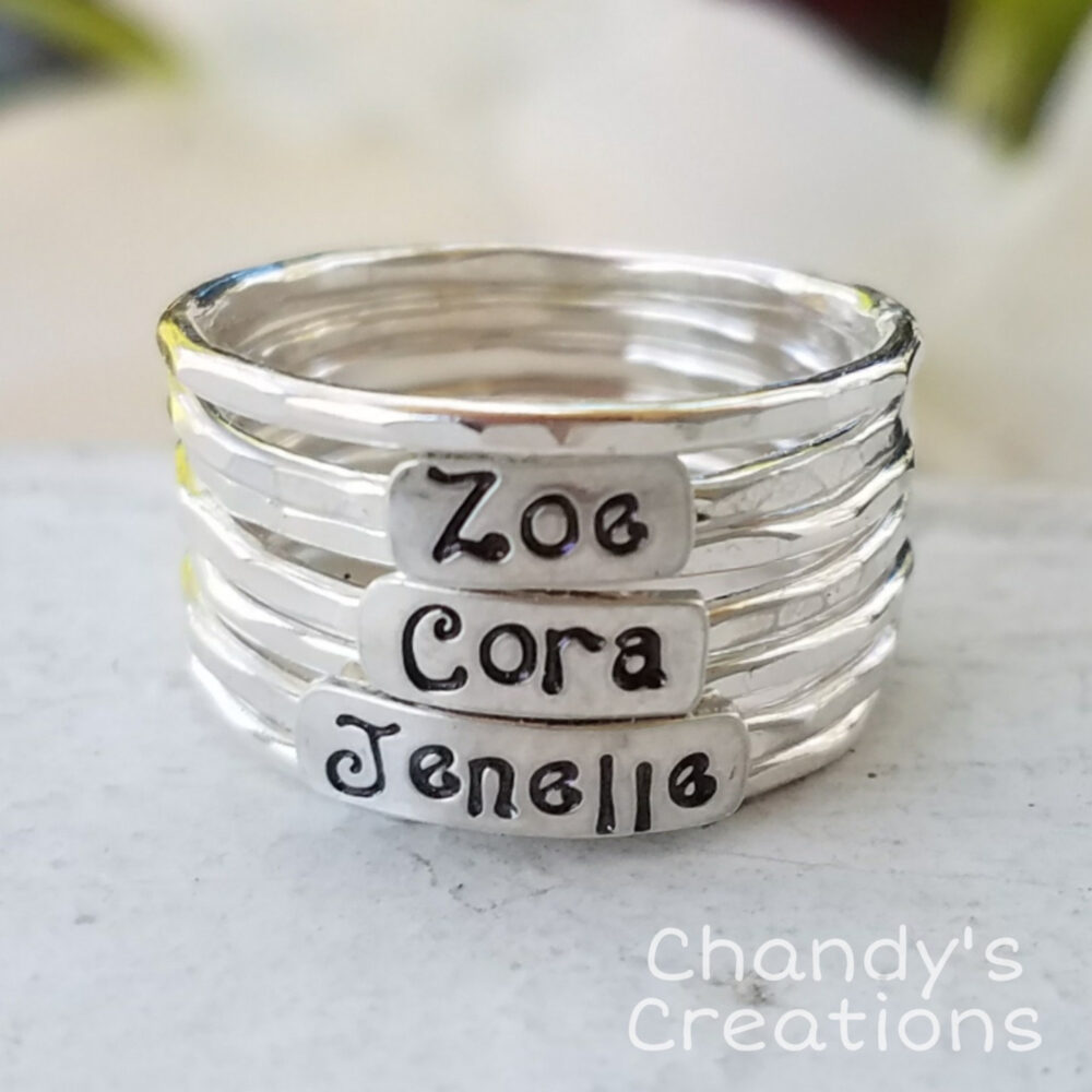 3mm-sterling-Silver-Mother's-Ring-stackable-Children-Name-Rings-Band-Customized-Thumb-Pinky-Hammered-Beaded-Spacers-Set-Fancy-Font