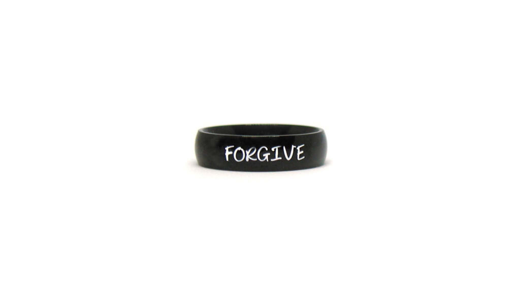 Forgive Ring, Black Personalized Name Ring Band, Religious Jewelry, Custom Men's Unisex Father's Day