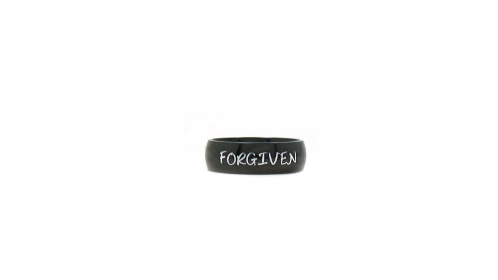 Forgiven Ring, Black Personalized Name Ring Band, Religious Jewelry, Custom Men's Unisex Father's Day